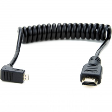 Atomos Right-Angle Micro to Full HDMI Coiled Cable (30-45cm)(ATOMCAB007)